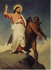 La tentación de Cristo, de Ary Scheffer (1854) - Jesús es tentado por el diablo en el desierto