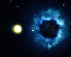 La tierra es absorvida por un agujero negro
