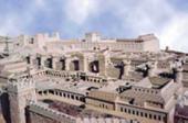 Jerusalén en el Siglo I DC (Maqueta - En primer plano el palacio de Herodes - Al fondo y al centro, el Templo - Al fondo y a la izquierda, la Fortaleza Antonia)