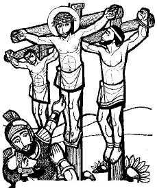 Jesus crucificado junto a los dos ladrones