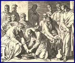 Jeus lava los pies a sus disc�pulos