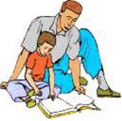 Leyendo la Biblia con su hijo