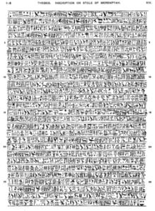 Texto de la Estela de Merenptah o Estela de Israel en donde se menciona por primera vez al pueblo de Israel