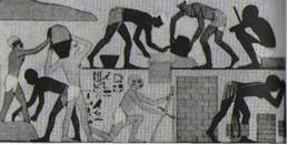 14). Fabricación de ladrillos en un bajorre¬lieve   egipcio   en   una   tumba   de   Tebas.   Los   rasgos   de   muchas   figuras   son   semitas.