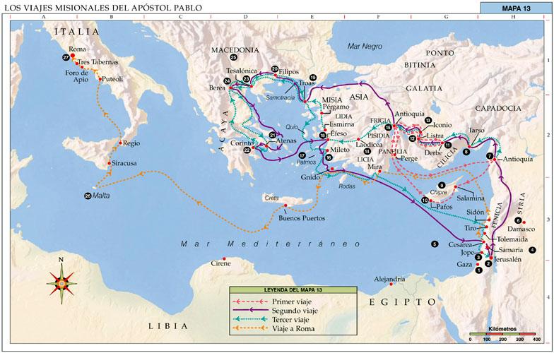 Ana de austria religi n los viajes de san pablo mapa for Cuarto viaje de san pablo